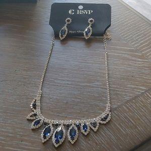RSVP Glam Girl Blue Necklace/Earring Set